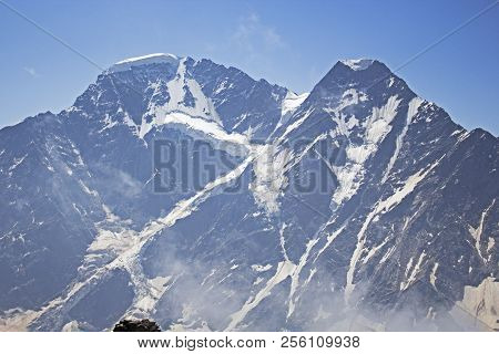 Glacier Seven And Beautiful View On Mountains In Valley Near Elbrus