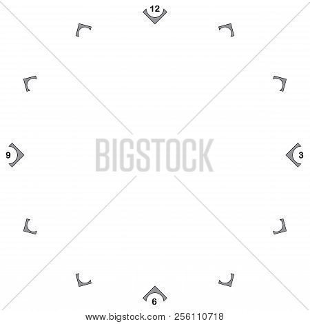 Watch Dial With Black Numbers Wrapt On Gray Black Signs On Transparent Background