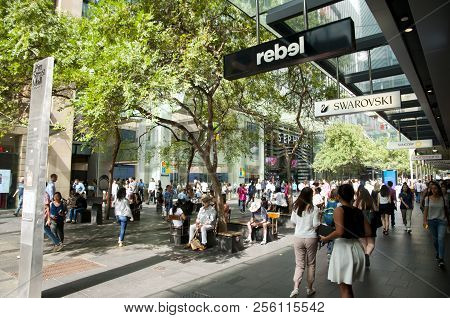 Sydney, Australia - April 6, 2018: Iconic Pitt Street Mall Is The Australian Busiest And Most Cosmop