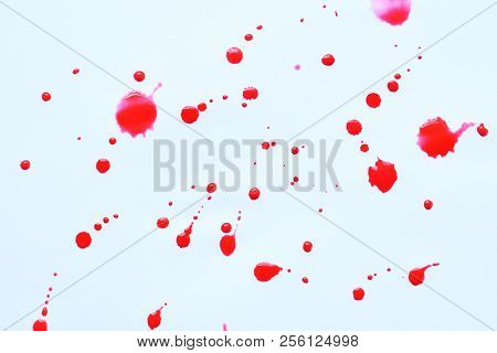 Blood Splatters. Abstract Splatter Red Color On White Background.