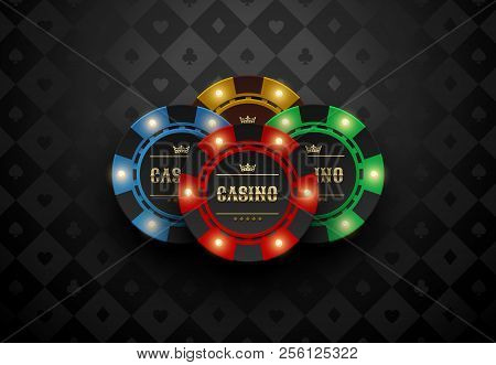 Vector Red Green Blue Yellow Casino Poker Chip With Luminous Light Elements. Black Silk Card Suits B