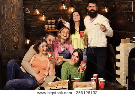Students Pizza Party Concept. Youth Celebrate With Drinks And Pizza, Spend Time Together, Speaking.