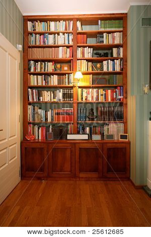 Classic style wooden bookshelf with a range of interesting books