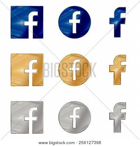 Letter F Blue, Gold And Silver Icons. Social Media Icon Set. Facebook Icon. Facebook Logo Vector Ill