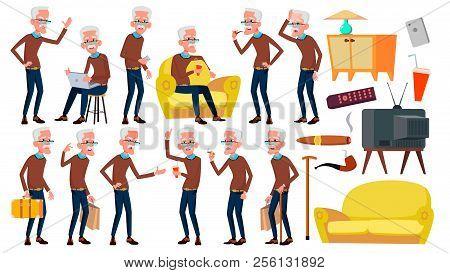 Old Man Poses Set Vector. Elderly People. Senior Person. Aged. Caucasian Retiree. Smile. Web, Poster
