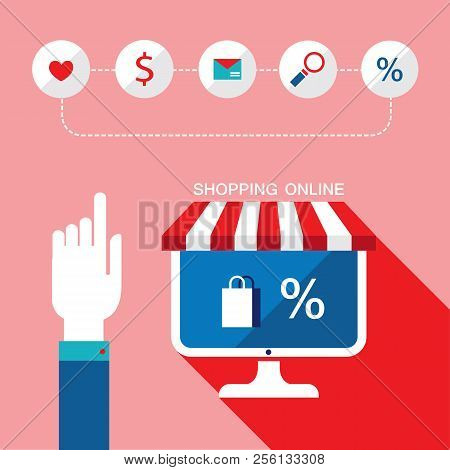 E-commerce Concept. Person Choosing A Shop To Buy, Sell Products. Online Shopping, Sale. Vector Illu