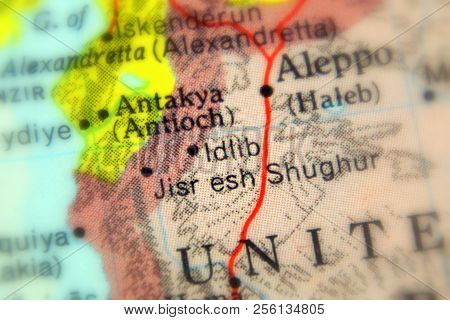 Idlib, A City In Syria On A Map (selective Focus)