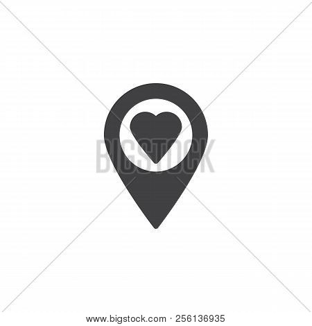 Heart Pin Vector Icon. Filled Flat Sign For Mobile Concept And Web Design. Donation Placeholder Simp
