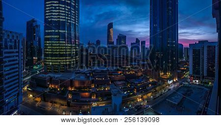 Abu Dhabi, Uae - August 30, 2018: Panorama Shot Of The Wtc (world Trade Center) On A Cloudy Tropical
