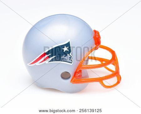 Irvine, California - August 30, 2018: Mini Collectable Football Helmet For The New England Patriots
