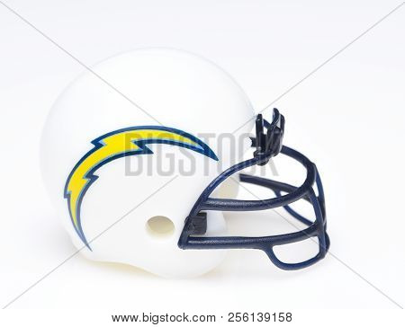 Irvine, California - August 30, 2018: Mini Collectable Football Helmet For The Los Angeles Chargers