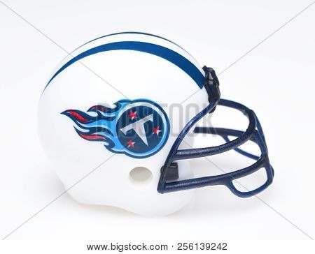 Irvine, California - August 30, 2018: Mini Collectable Football Helmet For The Tennessee Titans Of T