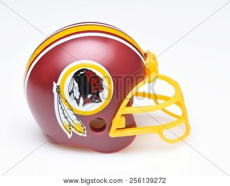 Irvine, California - August 30, 2018: Mini Collectable Football Helmet For The Washington Redskins O