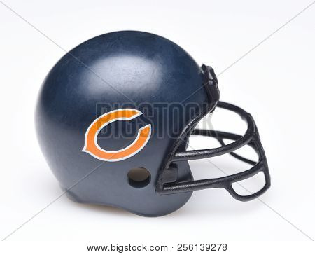 Irvine, California - August 30, 2018: Mini Collectable Football Helmet For The Chicago Bears Of The