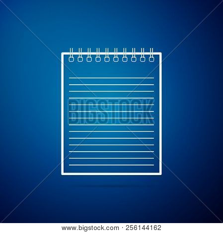 Notebook Icon Isolated On Blue Background. Spiral Notepad Icon. School Notebook. Writing Pad. Diary