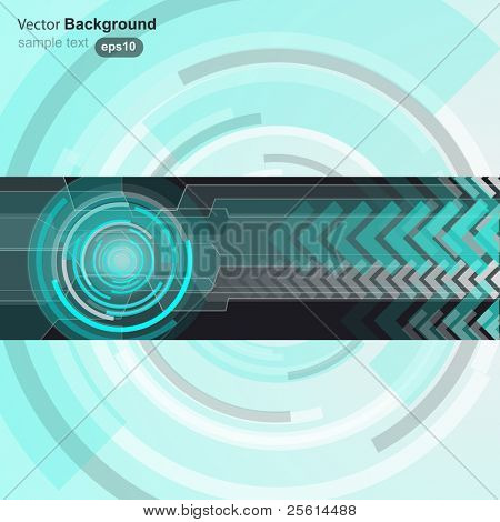 Blue circle and arrow background, vector