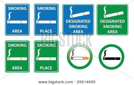 Set of smoking area signs