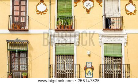 Granada, Spain - February 21, 2015: Detail Of A Decorated Building Facade In Granada, Andalusia, Sou