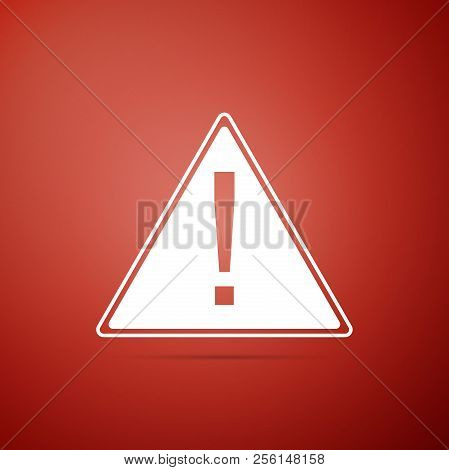 Exclamation Mark In Triangle Icon Isolated On Red Background. Hazard Warning Sign, Careful, Attentio