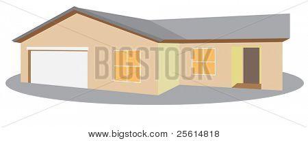 einstöckiges Haus Raster Version (Vektor verfügbar)