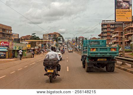 Kampala, Uganda - April 25, 2017: Entebbe Road The Entebbe Road Is The Highway To Entebbe. This Road