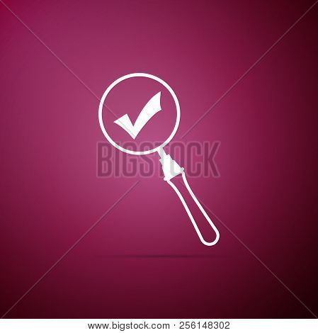 Magnifying Glass And Check Mark Icon Isolated On Purple Background. Magnifying Glass And Approved, C