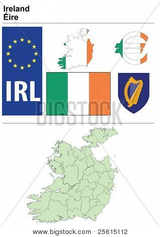 Ireland collection including flag, plate, map (administrative division), symbol, currency unit & coat of arms