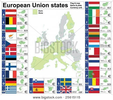 European Union states complete collection: map, plate, name, currency unit.