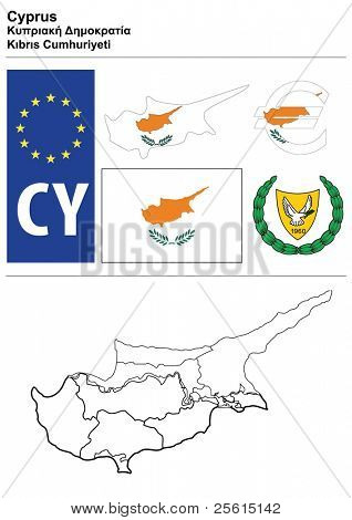 Cyprus collection including flag, plate, map (administrative division), symbol, currency unit & coat of arms