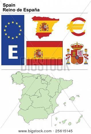 Spain collection including flag, plate, map (administrative division), symbol, currency unit & coat of arms