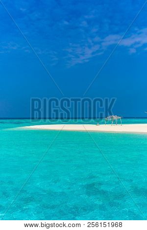 Amazing Blue Water In A Desert Island In Maldives, One Of The Main Honeymoon Destinations In The Wor