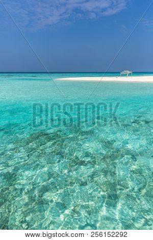 Amazing Blue Water Sea In A Desert Island In Maldives