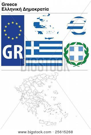 Raster version (vector available in my portfolio) of Greece collection including flag, plate, map (administrative division), symbol, currency unit & coat of arms