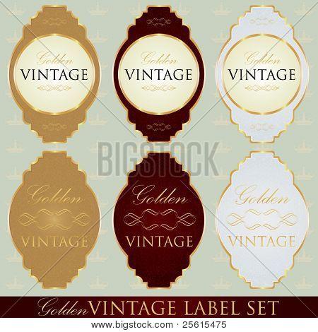 Golden vintage label set