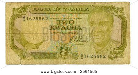 2 kwacha bill of Zambia brownish shabby paper hazel pattern poster