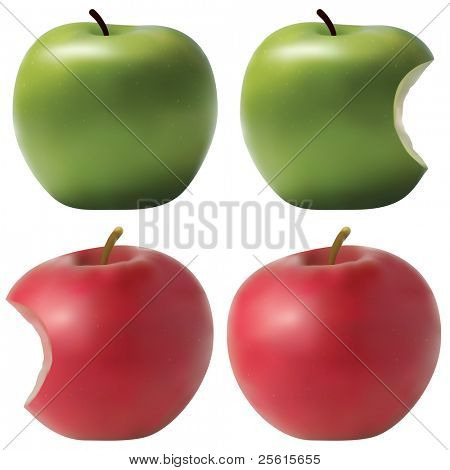 Raster version of photo realistic apples set. Green and red. Bitten effect. (vector available in portfolio)