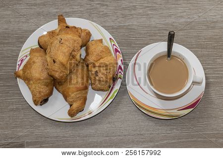 Cofee And Croissants Of Chocolate For Breakfast. Delicious Dessert.