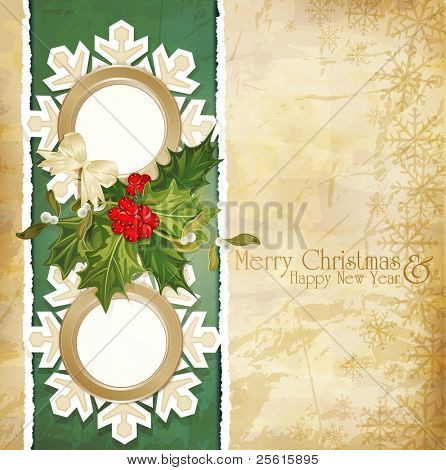 vector vintage retro christmas background with sprig of European holly, torn paper and two frames