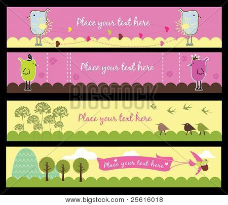 4 Birds banners on different themes