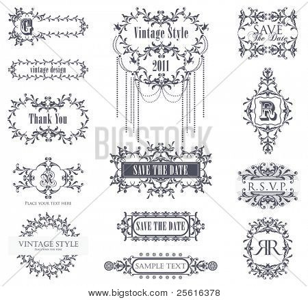 vector set vintage labels 5