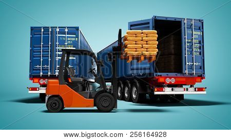 Freight, Package Packaging, Warehouse Logistics And The Concept Of Loading And Unloading Cargo, Two