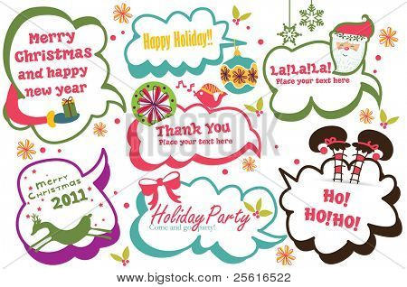 cute Christmas speech bubbles set