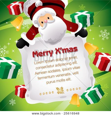 Santa holding Christmas board