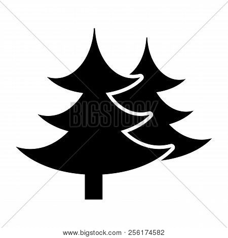 Fir Tree Solid Icon. Spruce Vector Illustration Isolated On White. Conifer Glyph Style Design, Desig
