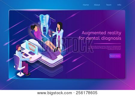 Augmented Reality For Dental Diagnosis Isometric Web Banner With Patient Sitting On Dentist Chair An