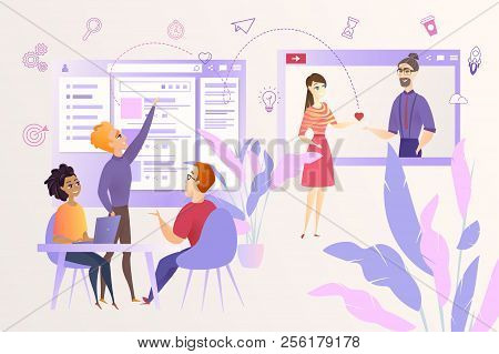 Social Network Users Activity Predicting And Analysis Cartoon Vector Concept With Young Internet Mar