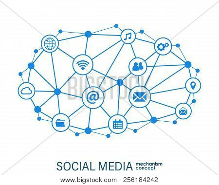 Social Media Connection Concept. Abstract Background With Integrated Circles And Icons For Digital,