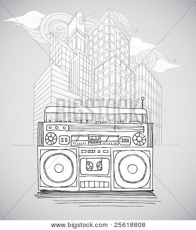 Sketch Boombox and City