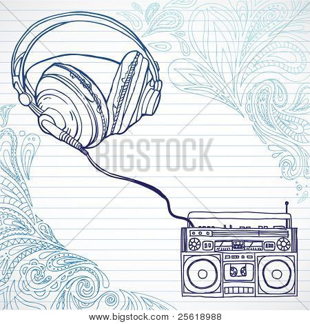 Hand drawn boom box and headphones surrounded by paisley shapes, room for text.