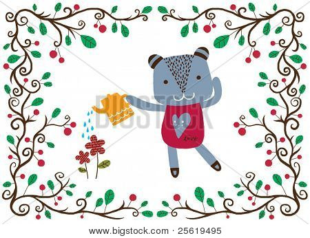Just for you - A cute bear watering flowers with love.